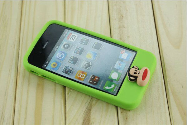 Wholesale cartoon stereo button for iphone 4 s cell phone case,soft apple four generations of silicone cover