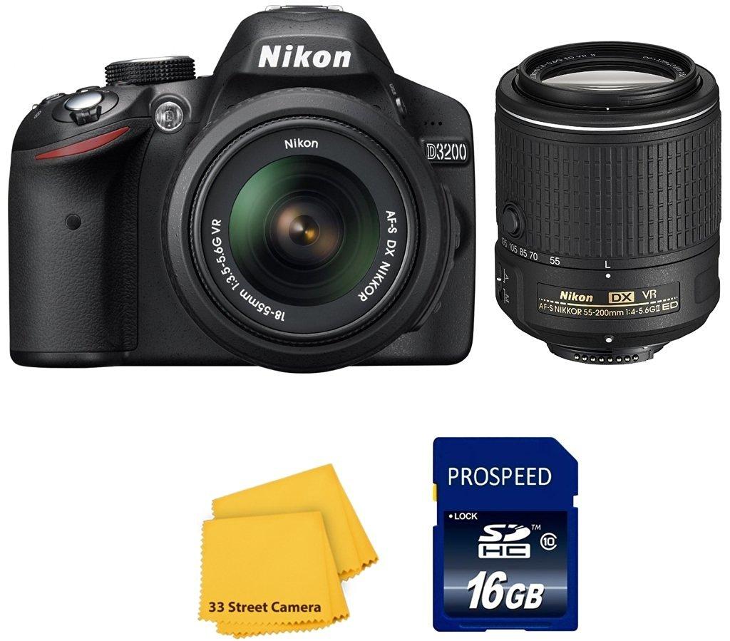 Nikon D3200 Digital SLR Camera with Nikon 18-55mm VR Lens and Nikon 55-200mm VR II Lens