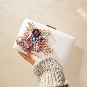 WB011 Fashion Silk Flower Women Handmade Full PU Flower Bridal Bag Wedding Party Two Chain Shoulder Black Evening Clutch Bag