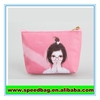 Promotional girls printed small PVC leather zipper pouch