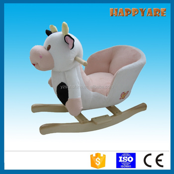 Delightful Cow Plush Rocking Chair With Wooden Base