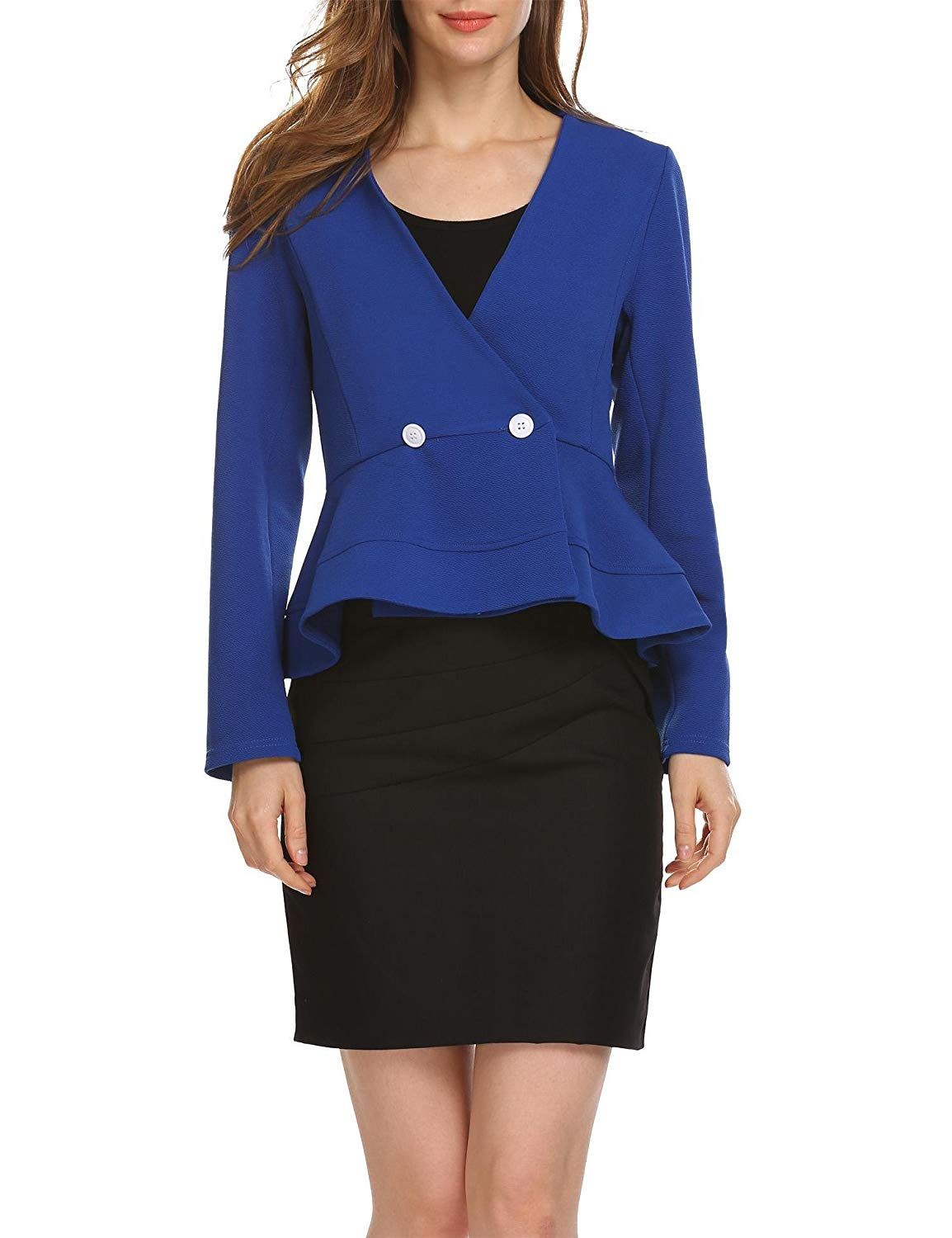 311263c63926e Get Quotations · ANGVNS Women s Long Sleeve Blazer Front Plain Peplum Frill  Work Office Peplum Jacket