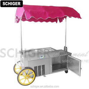 SCHIGER Thai Fried Ice Cream Trolley 1 Pan and Refrigerated Storage Easy to Make Ice Cream Rolls