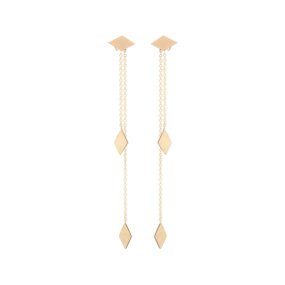 Gold Tone Extra Long Chain Earrings Beautiful Earring Designs For ...
