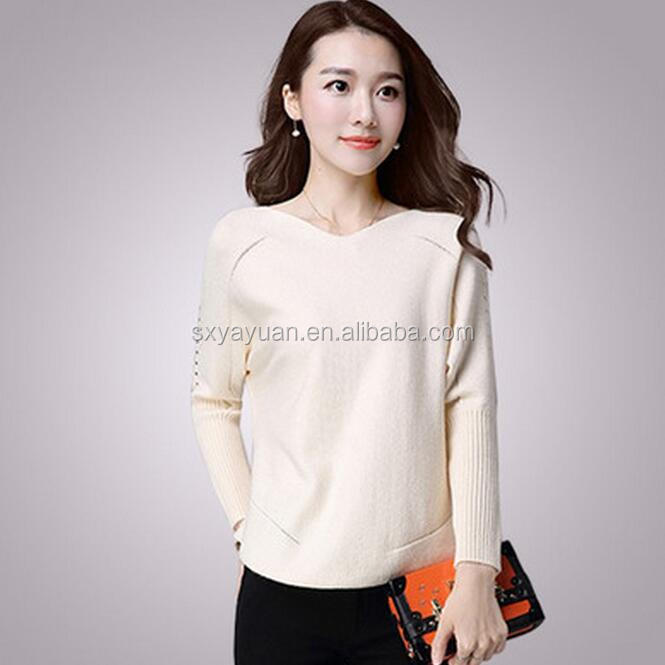 ladies plain cashmere wool knitted fashion women pullover