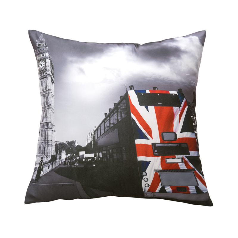 Printed British Flag on the Train American Style Cushions Home Decor Sofa Pillows 45x45cm Grey Free Shipping