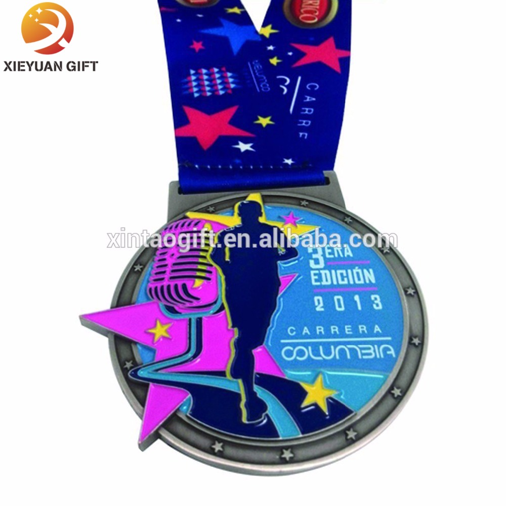 Promotional gifts bright color running awards medals With ribbons