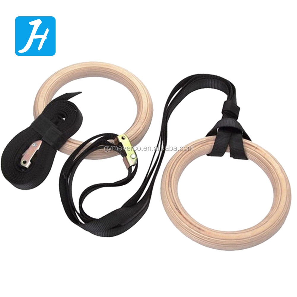 Wooden Gymnastic Rings with Buckles Straps