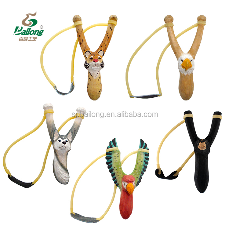 Factory price wood carving animal handle wooden slingshot