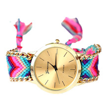 Handmade Braided Friendship Bracelet Watch New arrival geneva Hand-Woven wristwatch Ladies Quarzt gold Watch women dress watches