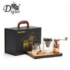 Diguo 400ml Black Color Portable Hot Cold / Brew Pour Over Coffee Tea Maker Gift Set Packaging For Tea Coffee