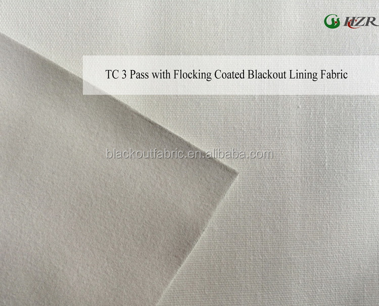 Poly/Cotton 3 Pass Foam Coated Blackout Fabric for Curtain Lining