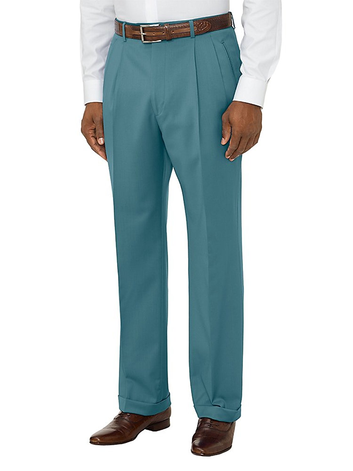 b3e4debfbf2 Get Quotations · Paul Fredrick Men s Comfort-Luxe Italian Wool Pleated Pants  Teal 40