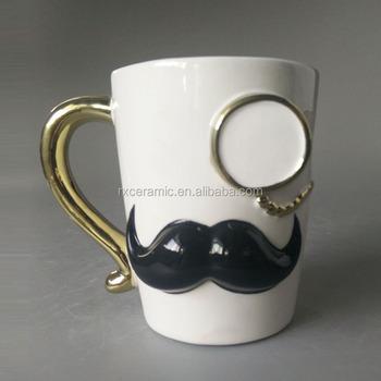 fashionable design ceramic white beer mug creative unique mustache