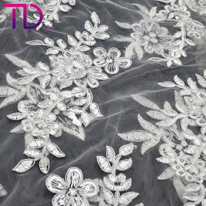 Custom Multicolor Flower Embroidery Lace Fabric Wedding Gown Dress African Fabrics 2019 Wholesales Lace Fabric