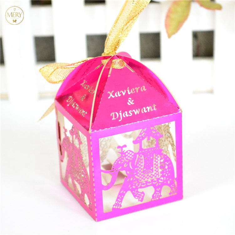 Elephant laser cut indian <strong>wedding</strong> favors boxes