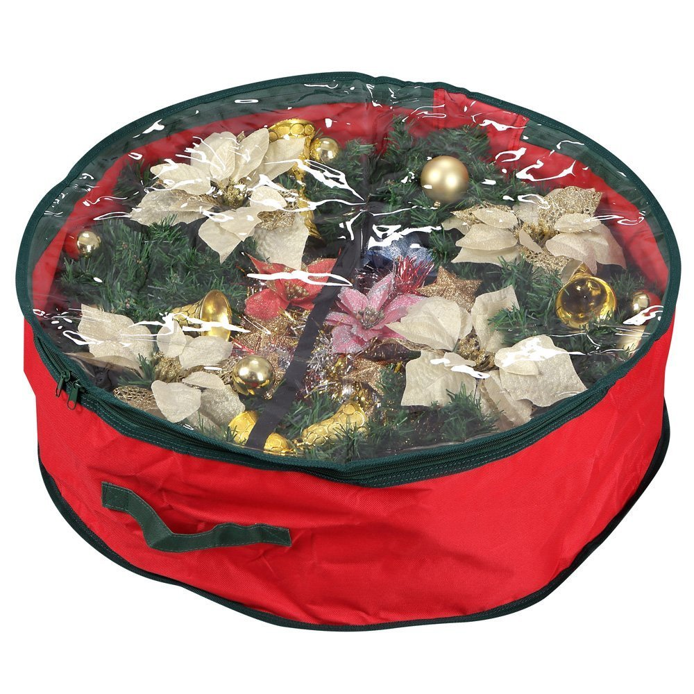 get quotations primode wreath storage bag with clear window garland or xmas wreath container for easy storage