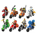 8pcs lot Pirate And Ninja Motorcycle Rider Minifigures Building Blocks Children s Puzzle Assembled Toys Gifts