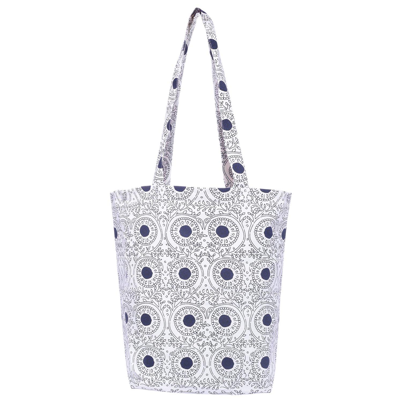 Tote Bag Books Printed Cotton Grocery Bag - Yoga Bag Duffel Bag (Blue print 14 x 15) - Reusable Canvas Printed Tote bag -Canvas Grocery Bag - Tote Bag - Tote Bag Cotton Bag for Books