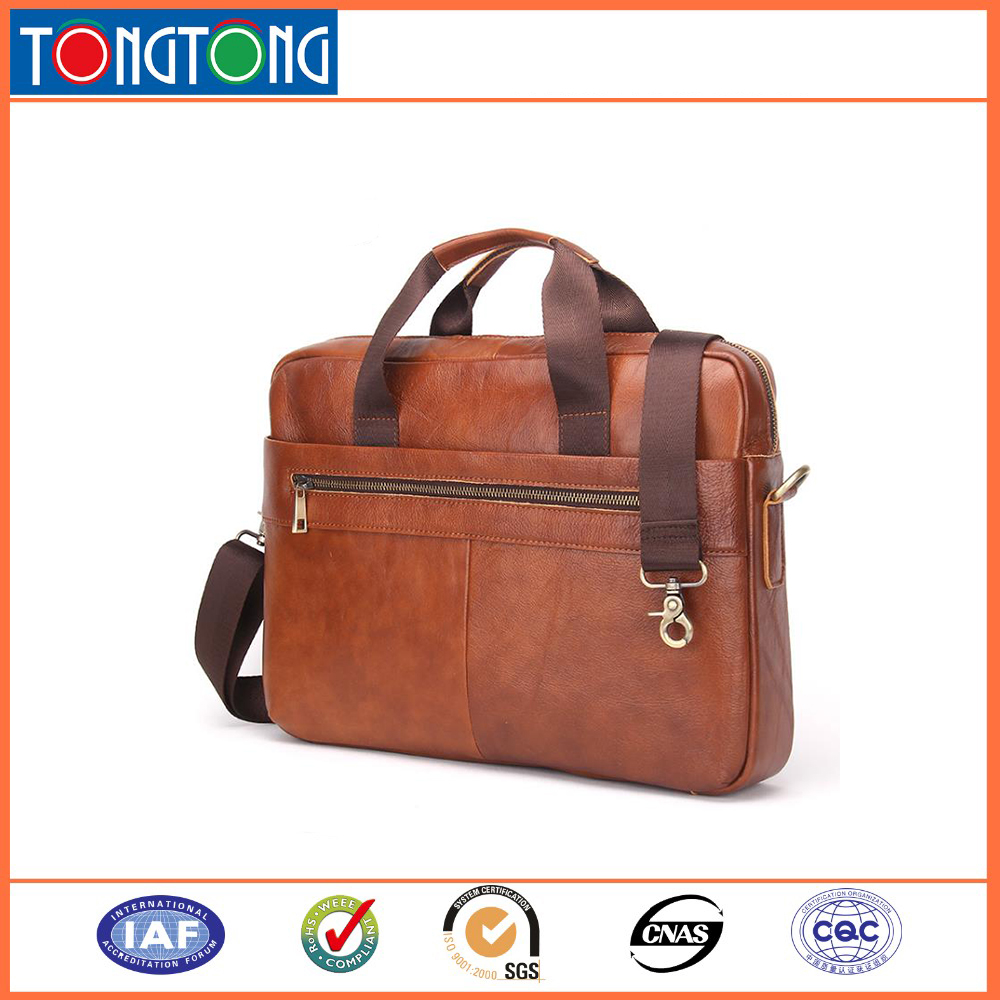 Luxury lawyer mens leather handbag 14 15 inch laptop bag