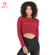 Custom Women T Shirt Cotton Spandex Sexy Long Sleeve Ladies Crop Top