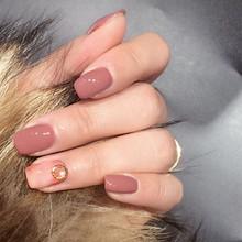 Накладные ногти теплого цвета, 20-24 шт., короткие длинные квадратные искусственные ногти, гладкие накладные ногти с клеем, стикер, хит продаж(Китай)