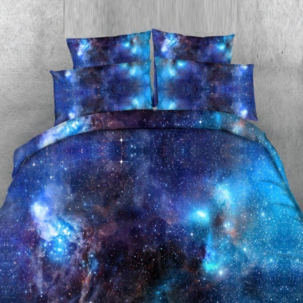 Alicemall Galaxy Bedding King 4 Pieces Deep Blue Galaxy Duvet Cover Set Gorgeous Shining Blue Galaxy Outer Space Print 4-Piece Bedding Set (King, Blue-4 pcs)