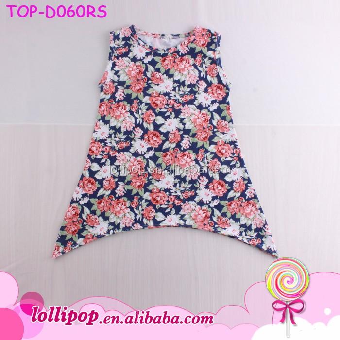 ff1642f2b Kids frocks neck design blank floral sleeveless baby girl asymmetric dresses
