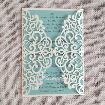Elegant Wedding Envelopes White Blue Laser Cut Invitation Card