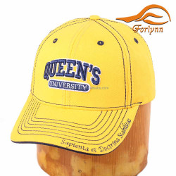 Stylish High quality Custom design 3D embroidery custom Yellow 6 panel baseball cap
