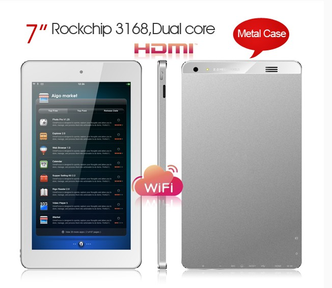 Hot Bán 7 inch tablet PC Rk3168 Dual core ARM A9 1.2 GHz