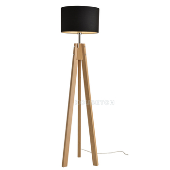 Factory Price Black Fabric Designer Wooden Tripod Floor Lamp Shade