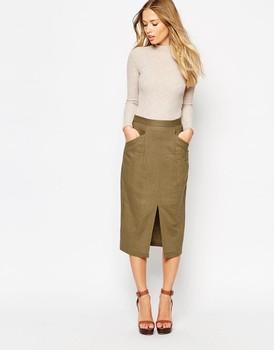 33e311c6244 Linen Split Front Open Pencil Skirt For Women - Buy Open Front Skirt ...