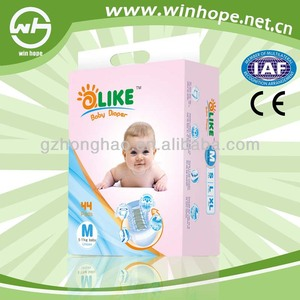 New fashion sleepy baby diaper PP tape feture printer PE back sheet nappies with low price