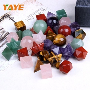 Factory Supply Natural Gemstone Carved Sacred Geometry & Platonic Solids with Merkaba Star : 7 Chakra Stones