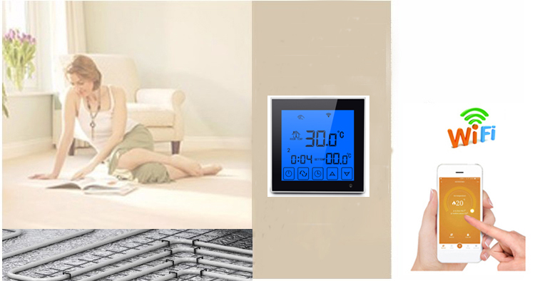 220v 16A touch screen electrical room wifi thermostat with free App control floor sensor to control heating film and hestin mat