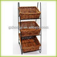 3 tier Metal with rattan basket magazine display rack