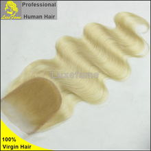 Luxefame Indian vergin hair body wave silk based closure blonde human hair