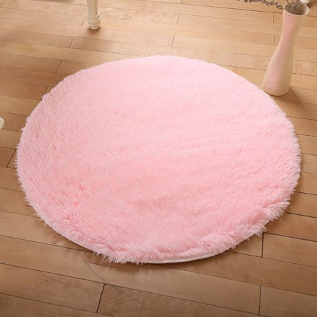 Wolala Home Beautiful Super Soft Coral Fleece Round Area Rugs Durable Solid Floor Rug Washable Non-slip Bedroom Living Room Carpet Coffee Table Bedside Computer Chair Yoga Mats (3'3x3'3, Light Pink)