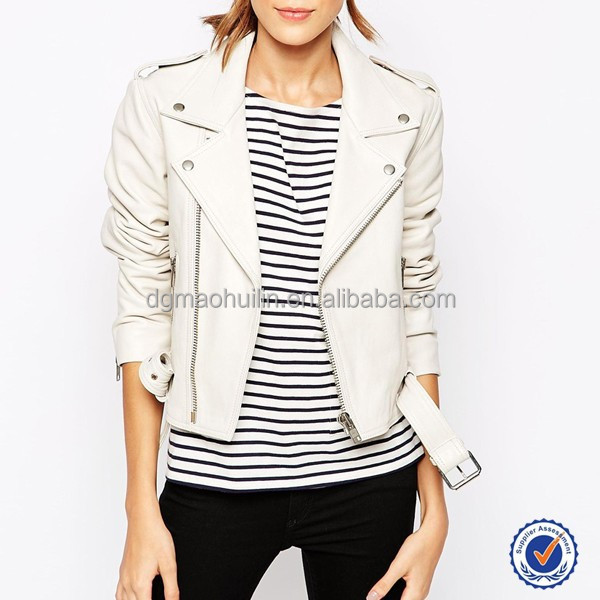 Latest Designs Women Winter White Leather Jacket Zip Front Jacket ...