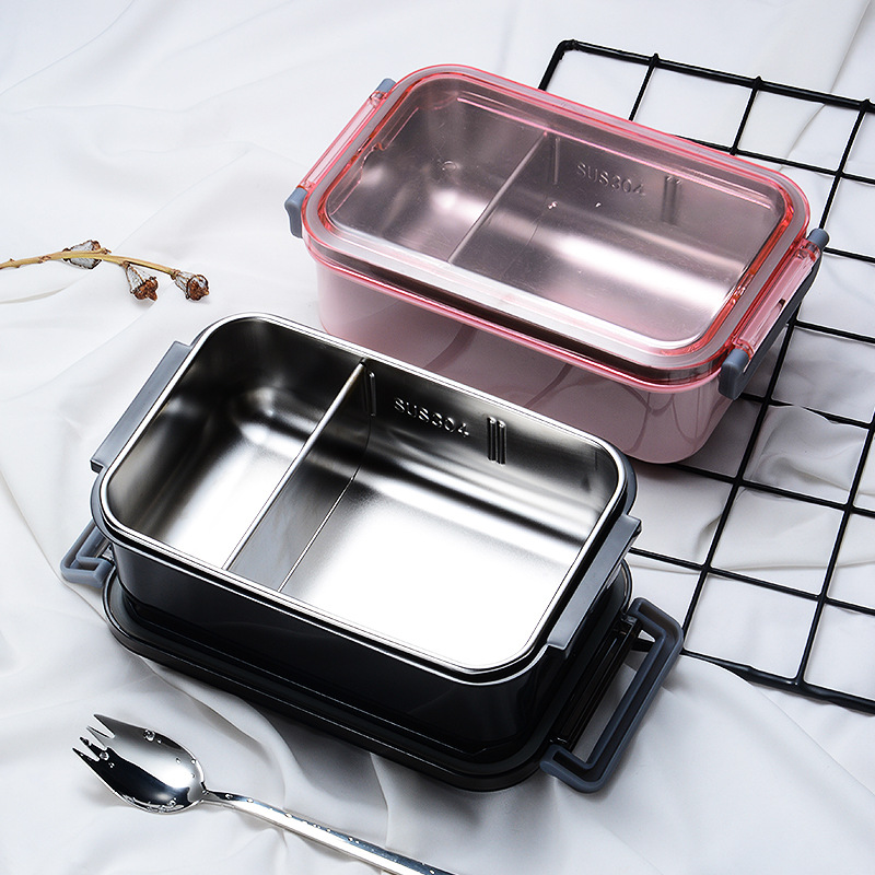 304 Stainless Steel Food Storage Container Fruit and Vegetable Black Metal Bento Lunch Box with Separator Piece