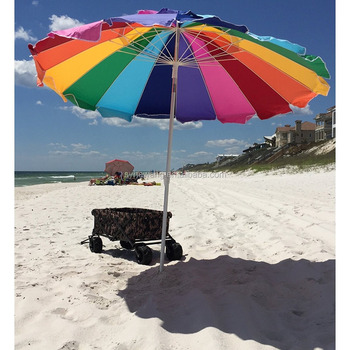 2017 Beach Umbrella Rainbow Includes Carry Bag 8 Foot Color With Sand Anchor Auger