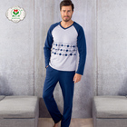 OEM clothes factory wholesale long sleeve nightgown men's sleepwear, 100% cotton pajamas for men