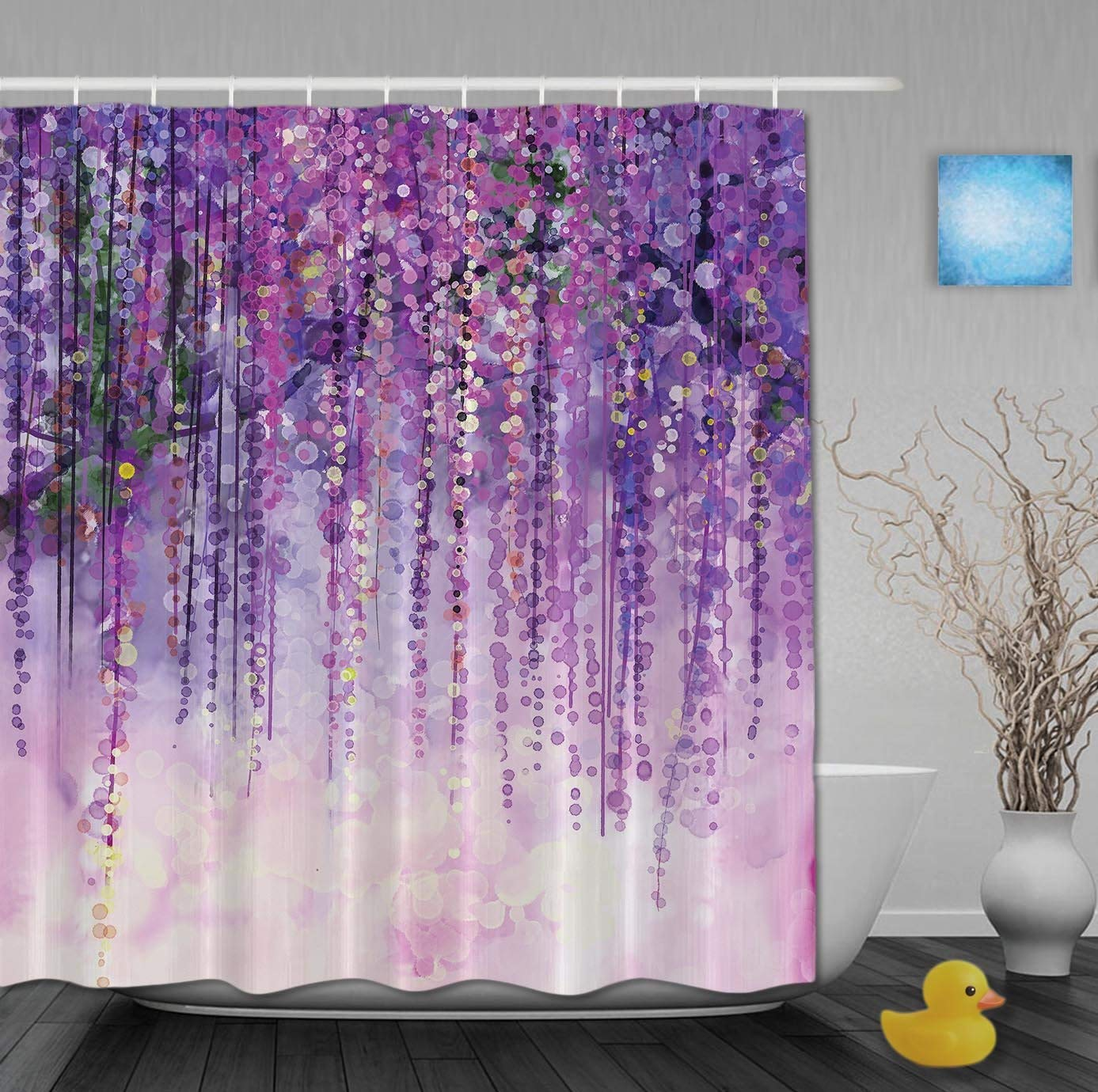 Get Quotations YUNBABA Art Printing Decor Collection Spring Landscape Purple Floral Bathroom Shower Curtains Mildew And Fade Resistant