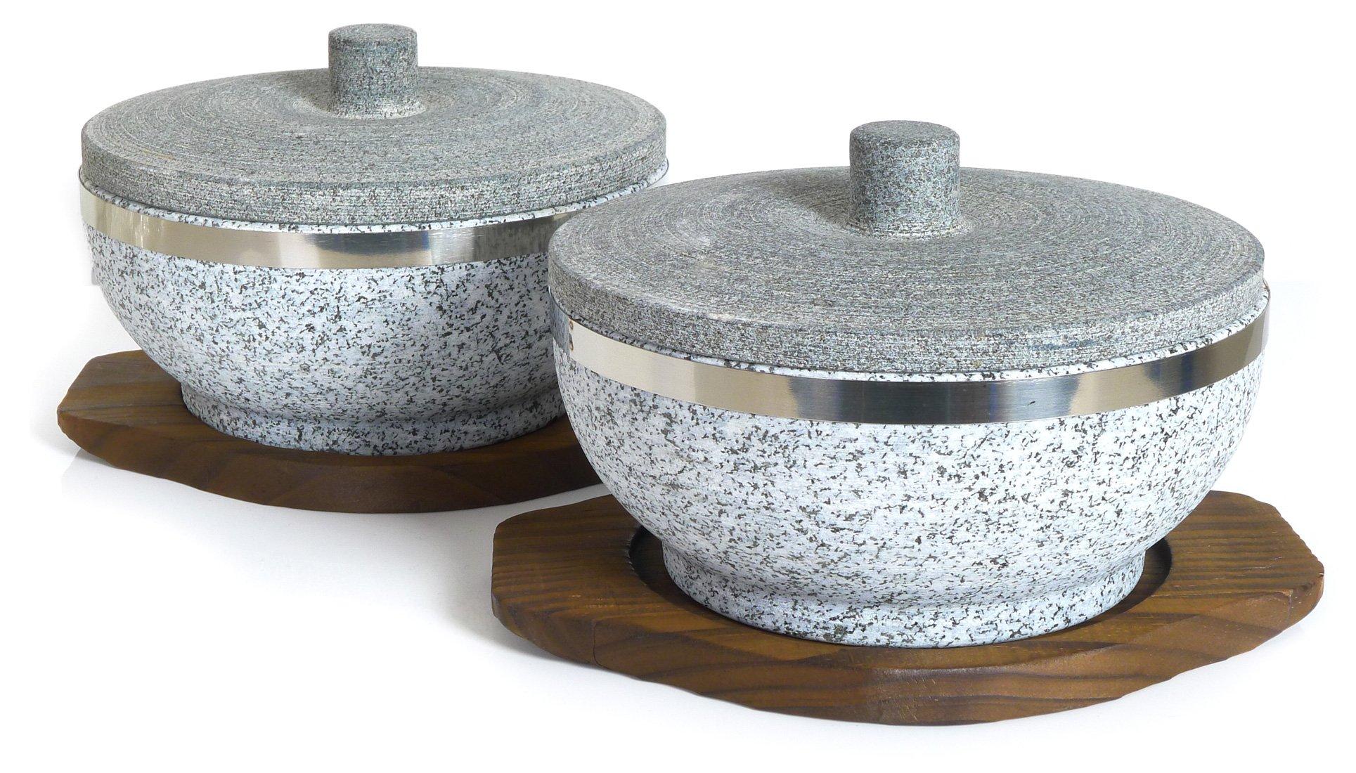 Spiceberry Home Granite Dolsot Bibimbap Rice Bowl with Stone Lid - Set of 2