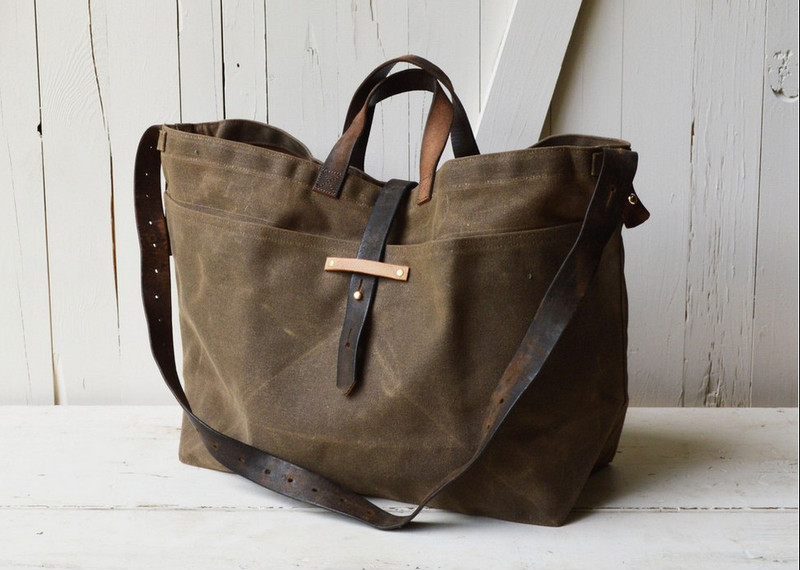 Vintage And High Quality Canvas Tote Bag With Leather Handle,Waxed ...