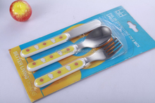 3 pcs stainless steel culty for children with cute sunshine handle