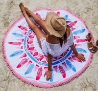 Custom round towel beach with low price, home textile round beach towels