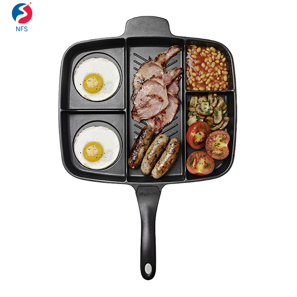 5 Section Square Divided Cooking Aluminum Non Stick Frying Pan