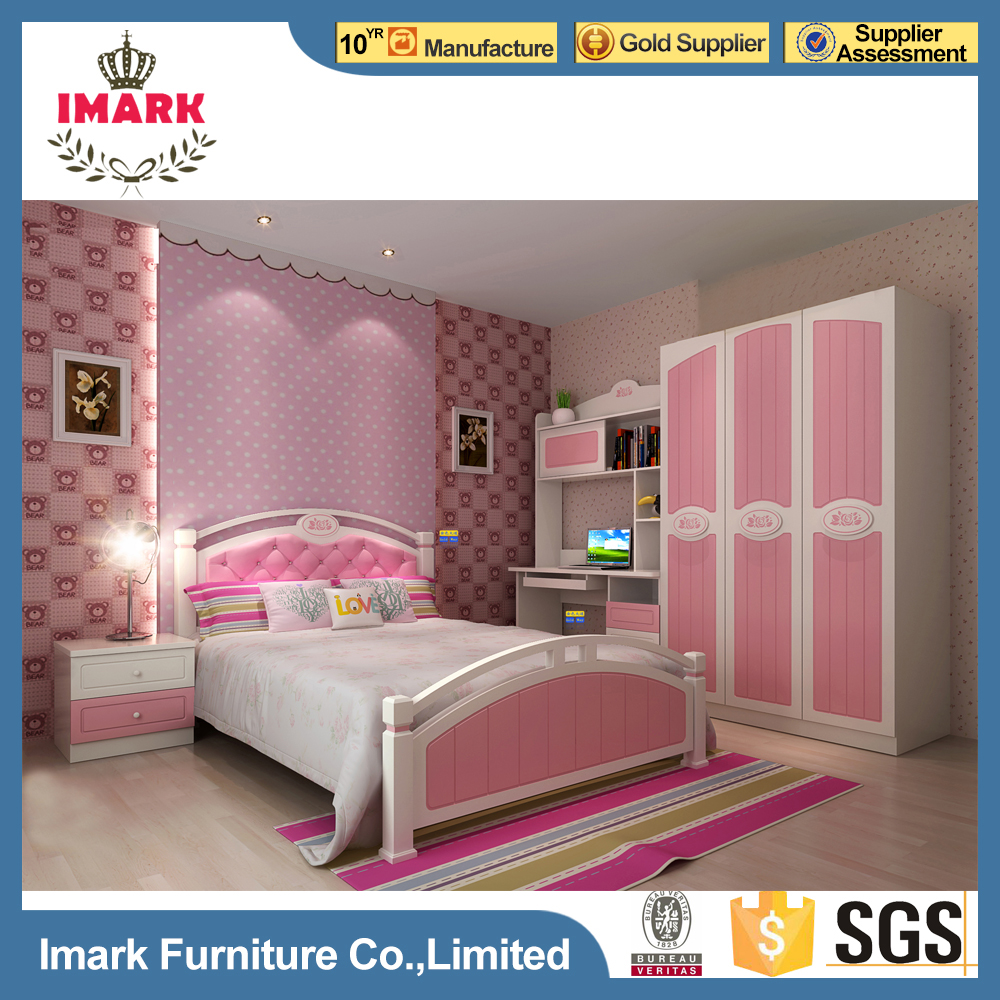 Pink Sweety MDF High Gloss Painting Finish Kids Beds Girls Bedroom Furniture Sets for Sale